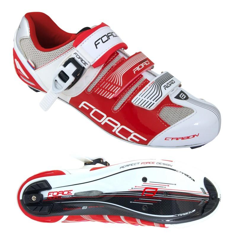 Scarpe bici da corsa in carbonio FORCE con cricchetto e strap