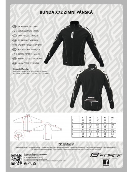 18128 - FORCE GIACCA INVERNALE MAN X72 BLACK/WHITE