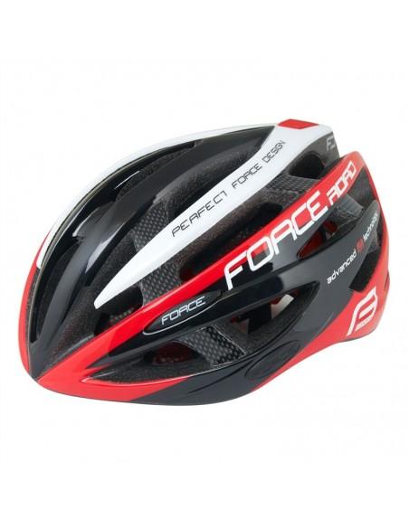 Casco bici Force ROAD nero rosso bianco