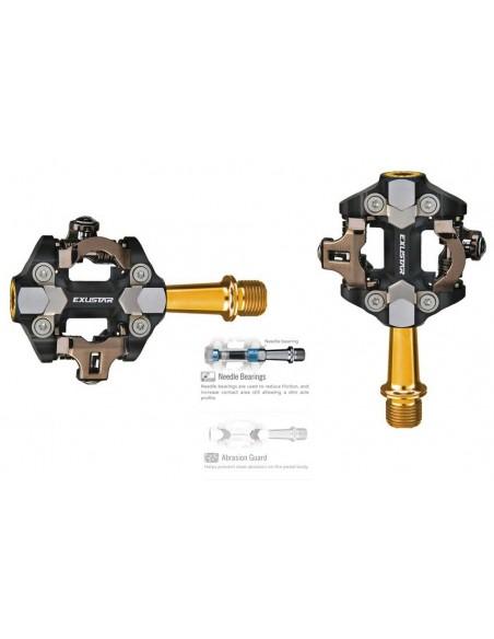 Pedali MTB Exustar PM 222 TI spd  Gold TITANIO