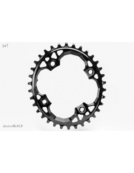 Corona AbsoluteBlack OVALE Sram 94Bcd BLACK (bolts integrato)