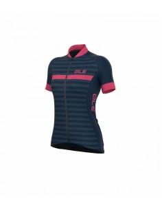 Maglia ciclismo donna ALE' SOLID RIVIERA blu-rosa fluo 2018