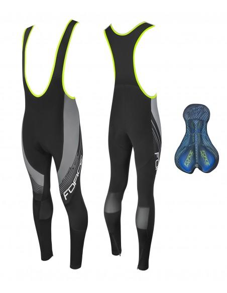 Pantaloni lunghi calzamaglia ciclismo FORCE Z68 con fondello in GEL