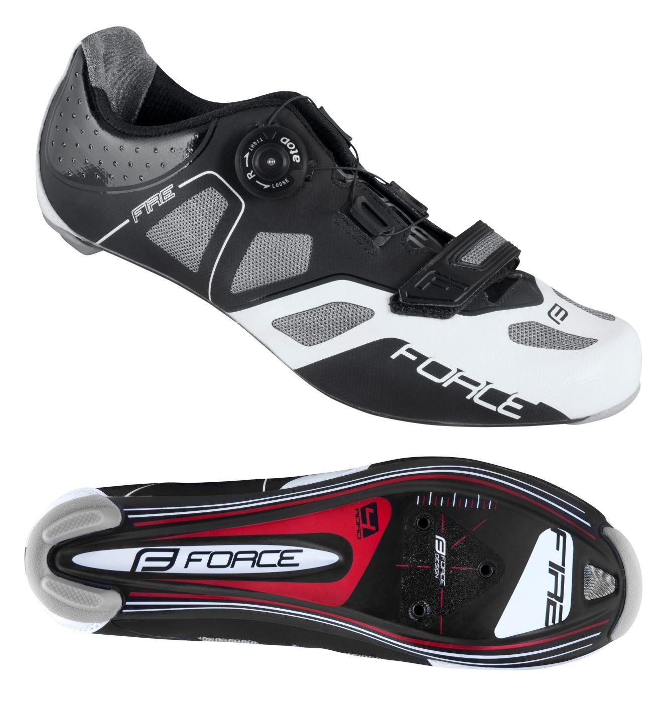 pretty nice 7a063 eae6a Dettagli su Scarpe bici da corsa FORCE ROAD FIRE boa e suola in carbonio