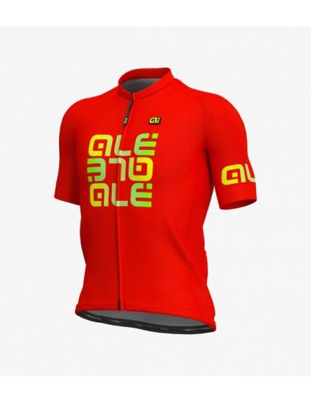 Maglia ciclismo ALE' SOLID VETTA rosso-giallo fluo 2018