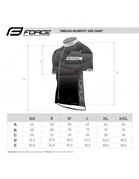 Maglia ciclismo FORCE T10 bianco-nero