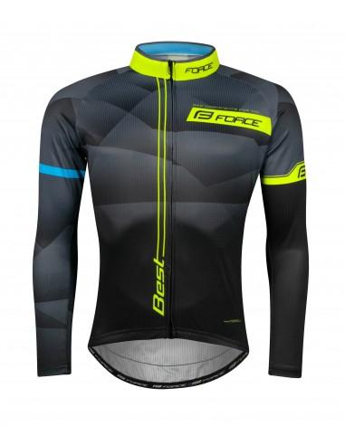 Maglia ciclismo FORCE BEST nero fluo