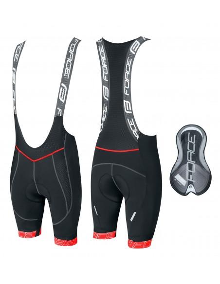 Pantaloncini ciclismo fondello in gel FORCE FAME nero