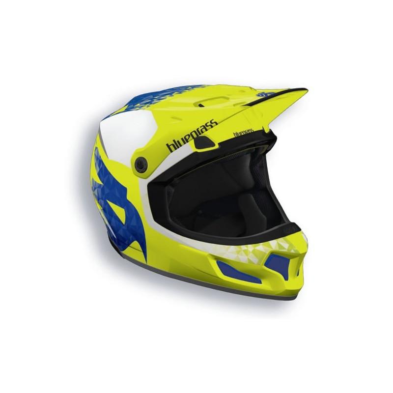 Casco downhill bluGRASS Brave giallo blu bianco
